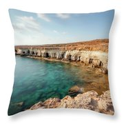 Sea Caves Ayia Napa - Cyprus Throw Pillow