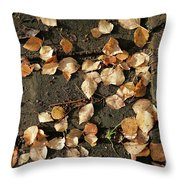 Silver Birch Leaves Lying On A Brick Path In A Cheshire Garden On An Autumn Day   England Throw Pillow