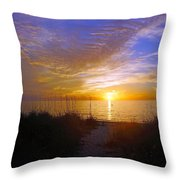Sunset At Delnor Wiggins Pass State Park In Naples, Fl Throw Pillow by Robb Stan