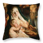 The Holy Family With Shepherds Throw Pillow
