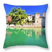 Town Of Sirmione Entrance Walls View Throw Pillow