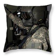Uh-60 Black Hawk Crew Chief Throw Pillow