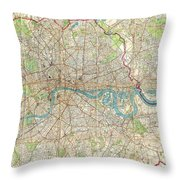 Vintage Map Of London England  Throw Pillow