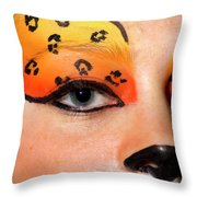 Young Female Model With Make Up Mask Throw Pillow