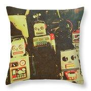 60s Cartoon Character Robots Throw Pillow