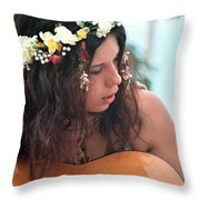 60's Flower Girl Throw Pillow