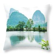 Karst Rural Scenery In Spring Throw Pillow