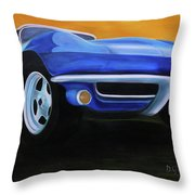 66 Corvette - Blue Throw Pillow