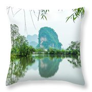 Karst Rural Scenery In Spring Throw Pillow