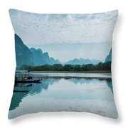 Lijiang River And Karst Mountains Scenery Throw Pillow by Carl Ning