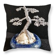 #66 Silver Lining Wire Tree Sculpture Throw Pillow