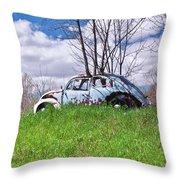 67 Volkswagen Beetle Throw Pillow