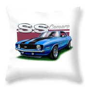 69 Camaro Ss In Blue Throw Pillow