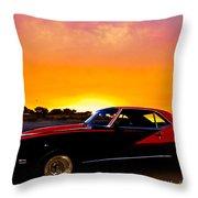 69 Camaro Up At Rocky Ridge For Sunset Throw Pillow
