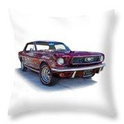 69 Ford Mustang Throw Pillow by Mamie Thornbrue