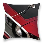 69 Mustang Hood Pin And Grille Throw Pillow