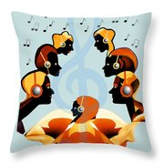 693 -  Listening   To  Music   Throw Pillow