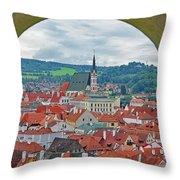 A View Of Cesky Krumlov In The Czech Republic Throw Pillow