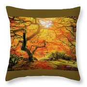 7 Abstract Japanese Maple Tree Throw Pillow