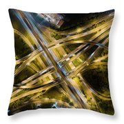 Aerial View Of Traffic Jams At Nonthaburi Intersection In The Evening, Bangkok. Throw Pillow by Pradeep Raja PRINTS