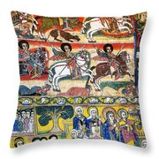 Ancient Orthodox Church Interior Painted Walls In Gondar Ethiopi Throw Pillow