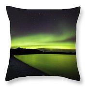 Aurora Borealis Over Iceland Throw Pillow