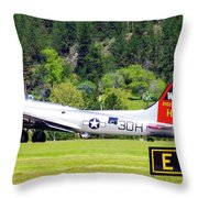B-17 Bomber Taxiing 1 Throw Pillow