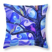 7 Birds On A Tree Throw Pillow