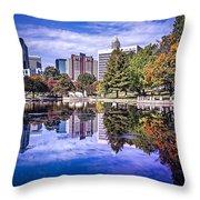 Charlotte City North Carolina Cityscape During Autumn Season Throw Pillow