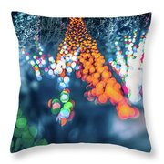 Christmas Season Decorationsafter Sunset At The Gardens Throw Pillow