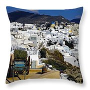 Cliff Perched Houses In The Town Of Oia On The Greek Island Of Santorini Greece Throw Pillow