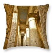 Colonnade In An Egyptian Temple Throw Pillow