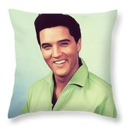 Elvis Presley, Rock And Roll Legend Throw Pillow