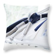 Equipment And Dental Instruments In Dentist's Office Throw Pillow