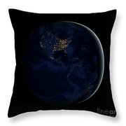 Full Earth At Night Showing City Lights Throw Pillow