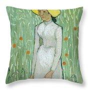 Girl In White Throw Pillow
