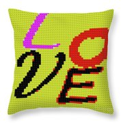 Graphic Display Of The Word Love  Throw Pillow