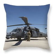 Hh-60g Pave Hawk With Pararescuemen Throw Pillow