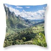 Landscape Around Kasi In North Laos Throw Pillow