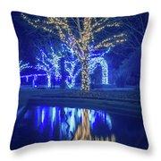 Lights, Christmas, Light, Christmas Tree, Green, Color, Red, Blu Throw Pillow