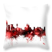 Liverpool England Skyline Throw Pillow