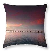 7 Mile Bridge Sunset Throw Pillow
