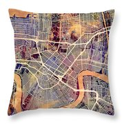 New Orleans Street Map Throw Pillow