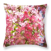 Pink Cherry Flowers Throw Pillow