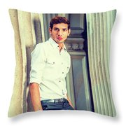 Portrait Of Young American Businessman. Throw Pillow