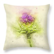 Silybum Eburneum Milk Thistle Throw Pillow