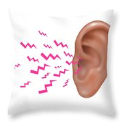 Sound Entering Human Outer Ear Throw Pillow