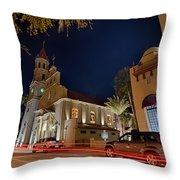 St Augustine City Street Scenes Atnight Throw Pillow