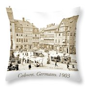 Street Market, Coburg, Germany, 1903, Vintage Photograph Throw Pillow