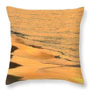 Waiting For The Wave In Sepia Throw Pillow